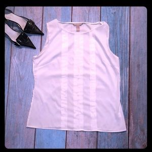 Banana Republic white pintuck sleeveless blouse